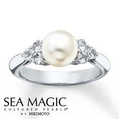 """Cultured Pearl Ring Natural White Sapphires Sterling Silver"" Simple and pretty!"