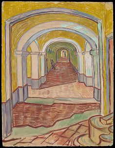 """Corridor in the Asylum  Vincent van Gogh  (Dutch, Zundert 1853–1890 Auvers-sur-Oise)    Date:      September 1889  Medium:      Oil color and essence over black chalk on pink laid (""""Ingres"""") paper  Dimensions:      25-5/8 x 19-5/16 in. (65.1 x 49.1 cm)"""