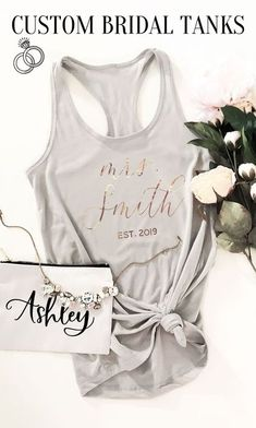 Ohhh these are so cute!  Obsessed with the gold font! Bridesmaid Gifts From Bride, Bridesmaid Tank Tops, Will You Be My Bridesmaid Gifts, Bridesmaid Proposal Box, Bridesmaids And Groomsmen, Bridal Shower Gifts, Bridal Gifts, Cute Engagement Gifts, Beach Wedding Gifts