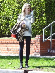 Emma Roberts & Evan Peters Stop By A Friend's House 03/2015 striped tee, black skinnies, leopard jacket, beige frame sunnies #streetstyle #casual