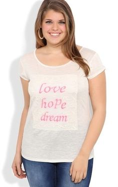 Deb Shops plus short sleeve rayon slub tee with neon love hope dream patch $17.92