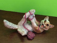 RARE Kitty's Kennel Rascal Playful Cat with Yarn Figurine   eBay