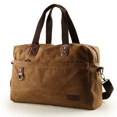 Copper Brown Canvas 14 Inch Laptop Bag Trendy American Style Casual Travel Purse Amazing Business Zipper Applique Men Large Crossbody Bag - EnjoyBedding.com