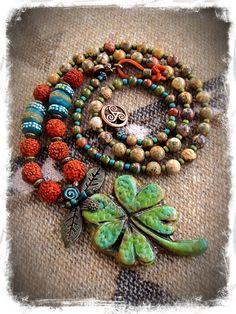LUCKY CLOVER necklace Good Luck necklace artisan FOUR by GPyoga