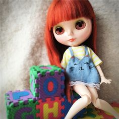 Cute Jean Cat Overalls Suspender Skirts Skirt Yellow T-shirt Tops Clothes For Blythe Dolls