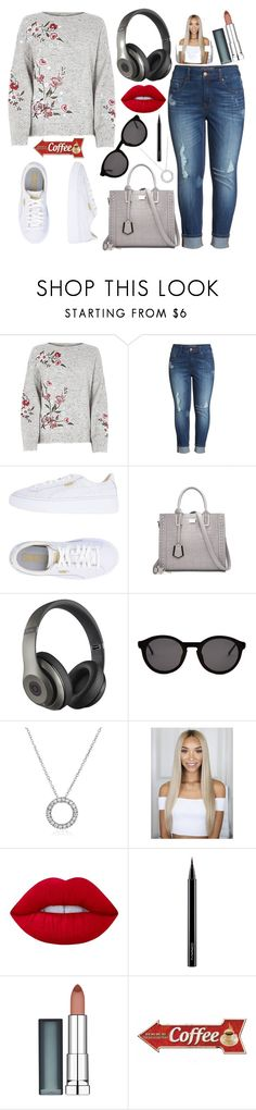 """""""My Nanny Tried Making A set😂"""" by christina123green ❤ liked on Polyvore featuring Melissa McCarthy Seven7, Puma, Beats by Dr. Dre, Thierry Lasry, Lime Crime, MAC Cosmetics and Maybelline"""