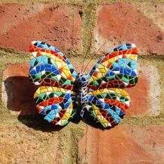 Multi Coloured Mosaic Wall Mountable Butterfly Garden Wall Art Ornament