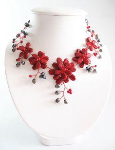 Red Garnet Gemstones Jewelry Flower