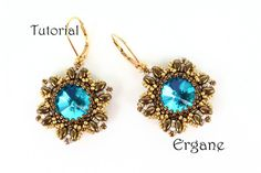 Pretty earrings with 14mm rivoli in shape of flowers. These earrings will look great in any color combination.  This tutorial is for beginner Beaders. The tutorial contains 13 fully illustrated (with graphs) steps from start to finish with complete explanation.