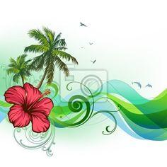 Stickers dérouler un manuscrit, stylisées, hawaii - hibiscus, palmiers, les vagues dans l'offre de PIXERS. Le produit est fait sur la base des photos artistiques, il est fait aussi de formidables matériaux.