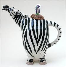 Whimsical :: Dahlia the Zebra Teapot by Lynda