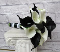 Calla lily Wedding bouquet Bridesmaid bouquet Black white real touch calla lilies