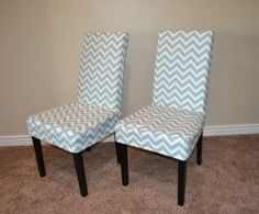 capital e easy parson chair slipcover tutorial with chevron fabric two chairs for - How To Recover Dining Room Chairs