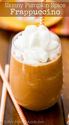 Skinny Pumpkin Spice Frappuccino with only 67 calories. You're saving a TON of money and calories making it at home! I totally loved the idea of freezing the pumpkin cubes! They could be so tasty on other things like oatmeal' Pumpkin Recipes, Fall Recipes, Holiday Recipes, Coffee Recipes, Pumpkin Drinks, Starbucks Recipes, Apple Recipes, Yummy Drinks, Healthy Drinks