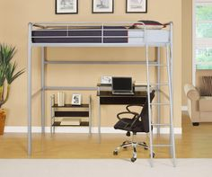 Slide the twin bed under this full sized loft bed!