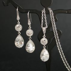 Cubic Zirconia Bridal Jewelry Set Teardrop Earrings and Necklace Silver Bridesmaid Jewelry Wedding Jewelry. $54.00, via Etsy.