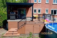 Patio Plus   Patio de Picsine Above Ground Pool Decks, In Ground Pools, Deck Design, Landscape Design, Patio Plus, Backyard Landscaping, Backyard Ideas, Design Jardin, Home Porch