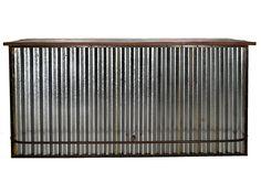 Imagen de la barra de bar estilo industrial en chapa ondulada.