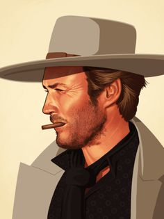 Iconic Film Character Portraits by Mike Mitchell Clint Eastwood Mike Mitchell, Clint Eastwood, Portrait Illustration, Character Illustration, Digital Illustration, Beetlejuice, Westerns, Famous Movies, Wow Art