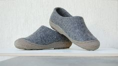 Felted wool clogs in dark gray with rubber toe soles - natural dark grey organic wool booties with rubber soles by WoolenClogs on Etsy
