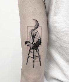 cool tattoo Head in the sky. Cool tattoo by maya_gat from Tel Aviv. Sky Tattoos, Mini Tattoos, Black Tattoos, Body Art Tattoos, Small Tattoos, Sleeve Tattoos, Tattoos For Guys, Tattoos For Women, Tattos