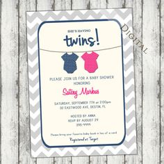 Twins baby shower invitations boy girl twins shower couples shower items similar to twins baby shower invitation gender neutral boy girl twins teal pink purple digital printable file on etsy filmwisefo