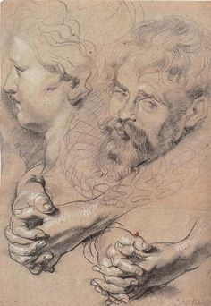 Peter Paul Rubens - Head and hands pencil drawing