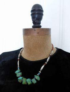 Native American Necklace ~ Silver Bead Necklace ~Turquoise Nuggets ~ Silver Melon & Seed Beads ~ Purchased ~ Southwest USA by HeySardine on Etsy Silver Bead Necklace, Silver Beads, Turquoise Necklace, Southwest Usa, Handmade Beads, Seed Beads, Native American, My Etsy Shop, Ethnic