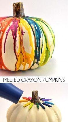 Melted Crayon Pumpkins by Dream a Little Bigger and other cool pumpkin ideas #pumpkins #diy