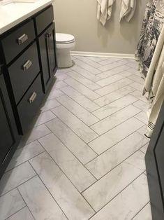 Bathroom decor for your master bathroom renovation. Discover master bathroom organization, master bathroom decor suggestions, master bathroom tile tips, master bathroom paint colors, and much more. Bathroom Styling, Bathroom Interior Design, Interior Paint, Herringbone Tile Floors, Cement Tiles, Bad Styling, Bathroom Floor Tiles, Best Bathroom Flooring, Tile For Small Bathroom