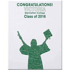 Personalized Graduation Autograph Canvas, 11 inch x 14 inch, Female, Available in 7 Colors, Green