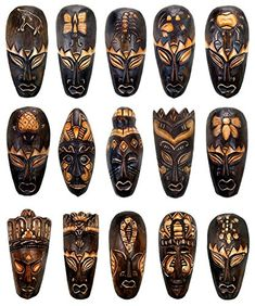 Hand Carved Wood African Style Tribal Mask - Set of 15 masks Egyptian Kings And Queens, African Art Projects, Tiki Head, African Mythology, African Fashion, African Style, Tribal Face, African Sculptures, Hand Carved