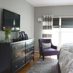 gray/purple guest room | Gray and Purple Master Bedroom