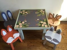 Kids play table & 4 chairs set, hand painted wooden animal stools, Child furniture, Woodland Forest nursery room Fox Rabbit Raccoon Deer by TheJollyFoxWorkshop on Etsy https://www.etsy.com/listing/496335233/kids-play-table-4-chairs-set-hand