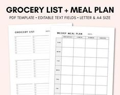 Grocery List Printable Meal Planner Printable Grocery   Etsy Menu Planner Printable, Grocery List Printable, Printables, Mom Planner, Food Cost, Shopping List Grocery, Menu Planners, Letter Size Paper, How To Stay Motivated