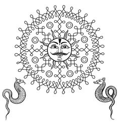 "Kolam Pattern — Sun   ""A South Indian style of painting using rice powder. A Kolam is a geometrical line drawing composed of curved loops, drawn around a grid pattern of dots."""