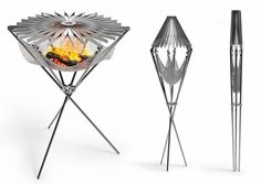 """Grillo -- Italian design meets the portable grill and it cooks as good as it looks. With a unique tripod design that features an easy-to-light stainless steel mesh """"fire hammock"""" beneath a collapsible cook top, the Grillo folds up into a slender package for easy portability."""