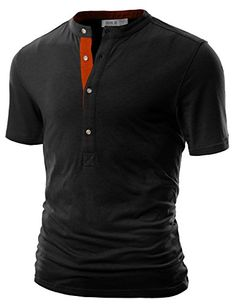 Doublju Mens Henley T-shirts with Long Sleeve CHARCOAL (US-M)