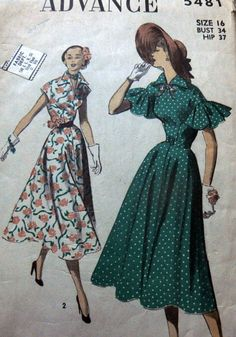 Advance 5481 16/34/28/37 Dress 1950 c/c 10.5+1.99 4bds 12/12/14