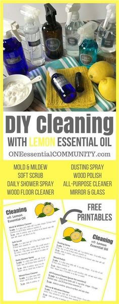 8 super simple (and effective) DIY recipes for cleaning with lemon essential oil (mold & mildew, soft scrub, daily shower spray, window & mirror cleaner, dusting spray, wood polish, all-purpose cleaner, and wood floor cleaner) PLUS a free PRINTABLE with a