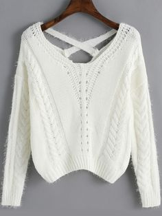 White Cross Back Hollow Crop Sweater ,35% Off for 1st Sign Up