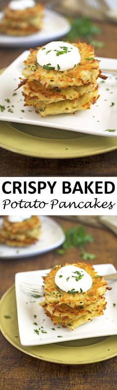 Crispy Baked Potato Pancakes stuffed with shredded potatoes, Parmesan cheese, onion, and garlic. A healthier alternative to fried potato pancakes or latkes. | chefsavvy.com #recipe #appetizer #baked #potatoes