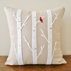 Birch Tree w/ Cardinal Linen Cushion Cover by sarahsmiledesign, $45.00