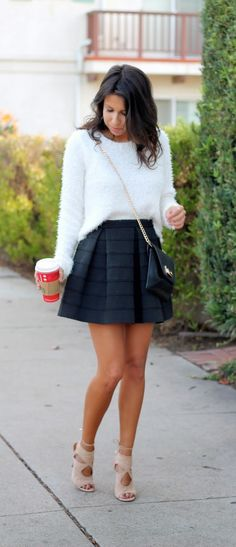 holiday outfit: fuzzy sweater x black skirt