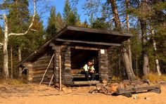 Relaxation at a lean-to shelter campfire spot by the Miekojärvi landscape in Pello in Lapland