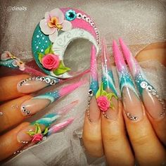 Fabulous Nails, Perfect Nails, Gorgeous Nails, Pretty Nails, Glam Nails, Bling Nails, Long Stiletto Nails, Edge Nails, Nailart