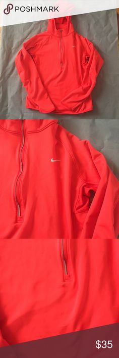 Nike Dri-Fit Scuba Hooded Zip Sweater Woman's Med Woman's medium. Has a few black marks right under the zipper. Running thumb on the sleeve. In otherwise great condition. Check out our closet for great bundle offers! Price firm unless bundled! Nike Tops Sweatshirts & Hoodies