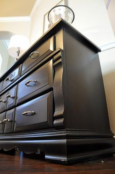 Satin black painted dresser