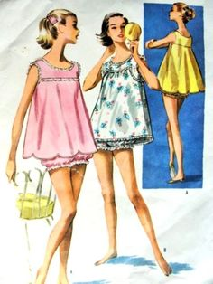 Baby Doll Pajamas Pattern McCalls 4030 Flirty Shortie PJs Lingerie Two Styles Of Tops Bust 34 Vintage Sewing Pattern-Authentic vintage sewing patterns: This is a fabulous original dress making pattern, not a copy. Because the sewing patterns ar Gown Pattern, Jumpsuit Pattern, Dress Patterns, Coat Patterns, Vintage Stil, Mode Vintage, Vintage Dresses, Vintage Outfits, Vintage Fashion
