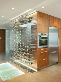 Glass Case Bottle Display Contemporary Kitchen Wine Cellar Custom Design Home Ideas. # I'm in heaven now! Bottle Display, Wine Display, Display Cases, Cave A Vin Design, Küchen Design, House Design, Custom Design, Design Ideas, Interior Design